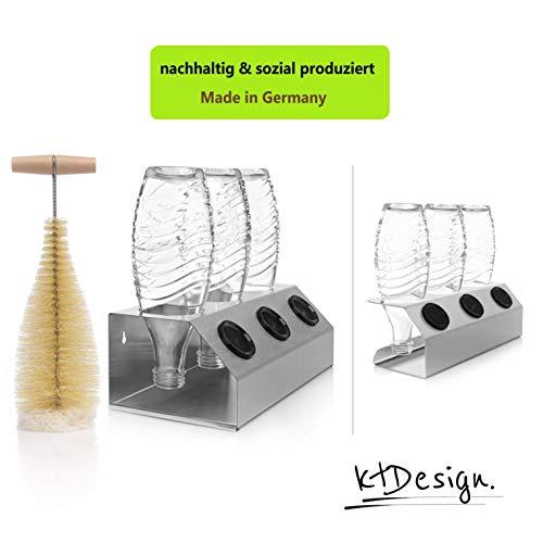 ktDesign SodaStream Abtropfhalter aus Edelstahl für 3 Flaschen – Flaschenhalter mit Abtropfboden, Flaschenbürste und Deckelhalterung für SodaStream Crystal, Emil- und Glasflaschen, Made in Germany