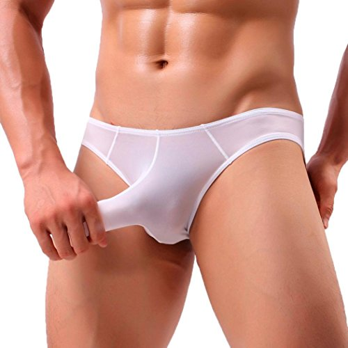 Calzoncillos Hombres, Slips Hombres Boxeador Pantalones Cortos Ropa Interior Transpirable Bragas bóxer niño Lenceria (XL, Blanco)