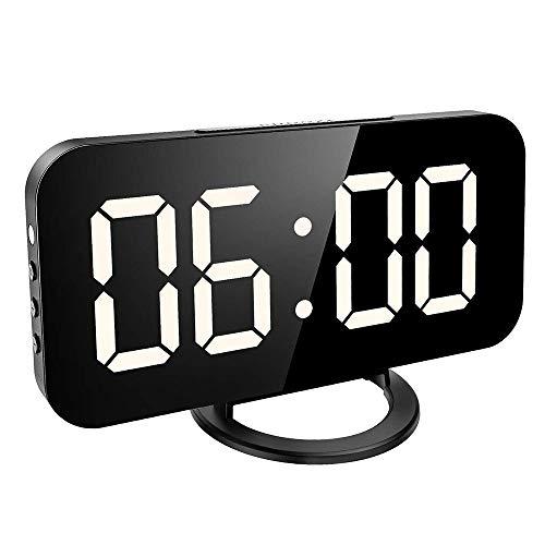 LG Snow Pantalla LED Digital Reloj Electrónico Silencioso, 12h Y 24h Y Un USB De Doble Puerto De Carga del 3 Brillo Ajustable Negro 22 * 4 * 9.5CM