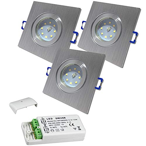 LED Bad Einbaustrahler 12V inkl. 3 x 5W SMD LM Farbe BiColor IP44 LED Deckenleuchten Neptun Eckig 4000K mit Trafo