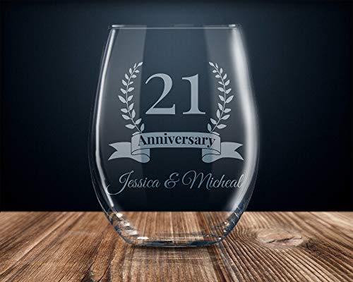 21 Year 21st Personalized Wedding Anniversary Stemless Wine Glass Twenty One Years 15 Oz Wine Glasses