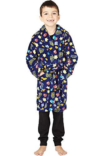 Kids Happy Hanukkah Cozy Fleece Robe, Multicolored, Small