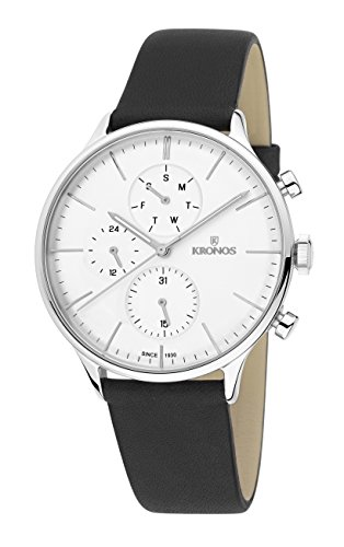 KRONOS - Minimalist Day Date Silver K004.105 - Reloj de Caballero de Cuarzo, Correa de Piel, Color Esfera: Plateada