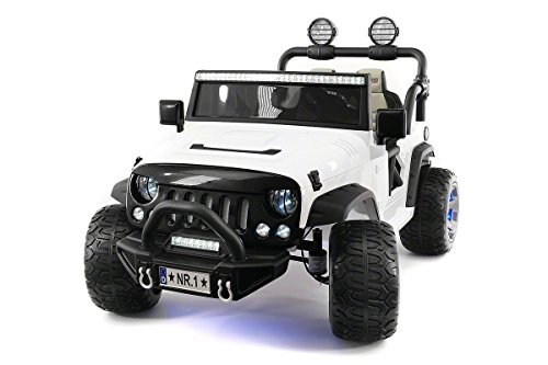 12 Volt Explorer Truck Battery Powered Led Wheels 2 Seater Children Ride On Toy Car for Kids Leather Seat MP3 Music Player with FM Radio Bluetooth R/C Parental Remote (White)