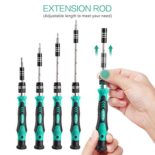 ORIA Precision Screwdriver Kit, 60 in 1 with 56 Bits Screwdriver Set, Magnetic Driver Kit with Flexible Shaft, Extension Rod for Mobile Phone, Smartphone, Game Console, Tablet, PC, Green