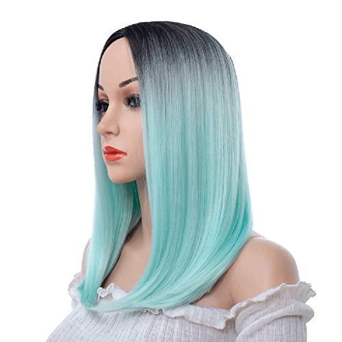 Perruques Cheveux Synthétiques Droite Perruques Complètes Femmes Chaleur Naturelle verte femme longue 18