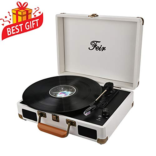 Vinyl Stereo White Record Player 3 Speed Portable Turntable Suitcase Built in 2 Speakers RCA Line Out AUX Headphone Jack PC Recorder