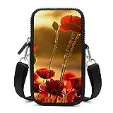 Bolso bandolera para teléfono móvil, con correa para el hombro extraíble, diseño de flores rojas, resistente al desgaste