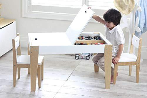 Beboonz 3tlg. Kindersitzgruppe Kindertisch mit 2 Stühle Sitzgruppe mit Stauraum für Kinder Vorschüler Kindermöbel,