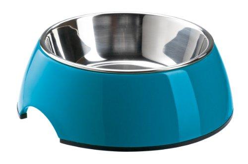 HUNTER Melamin-Napf, Futternapf, Trinknapf für Hunde und Katzen, herausnehmbarer Edelstahlnapf, 350 ml, petrol
