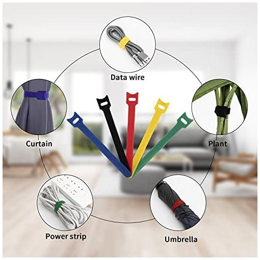 Dapzon 5 colores Bridas Reutilizables, 100 Piezas Ataduras Cables con 3m Nylon Gancho y Lazo Cable Corbatas, Ajustable… 6