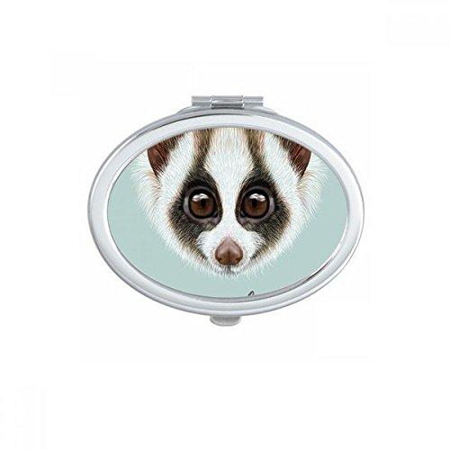 DIYthinker Big-Eyed Blanc Brown Loris Animal Ovale Maquillage Compact Miroir de Poche Portable Mignon Petit Miroirs Main Cadeau Multicolore