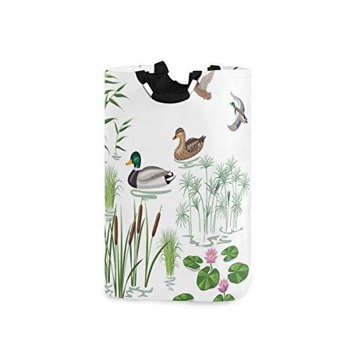 COFEIYISI Wäschesammler Wäschekorb Faltbarer Aufbewahrungskorb,See Tiere und Pflanzen mit Lilie Blumen Schilfrohr im Teich Naturpark drucken,Wäschesack - Wäschekörbe - Laundry Baskets
