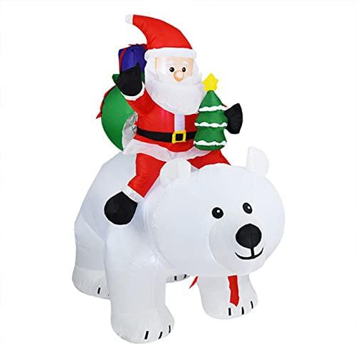 Babbo Natale gonfiabile in sella a un orso polare Ornamento di Natale Giardino all'aperto Decorazione luminosa della bambola gonfiabile di Babbo Natale5.8ft