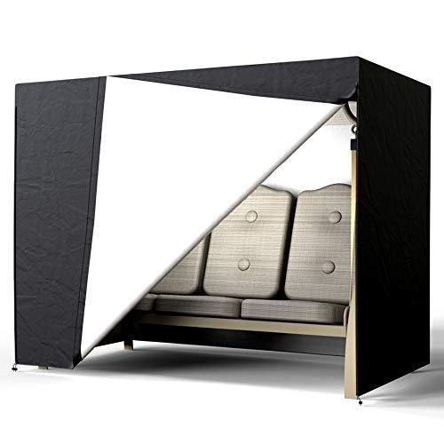 Keyohome Gartenschaukel für 3-Sitzer, wasserdicht, aus 190T Polyester, UV-beständig, strapazierfähig, für offene Gärten 223.5*152*183cm Schwarz