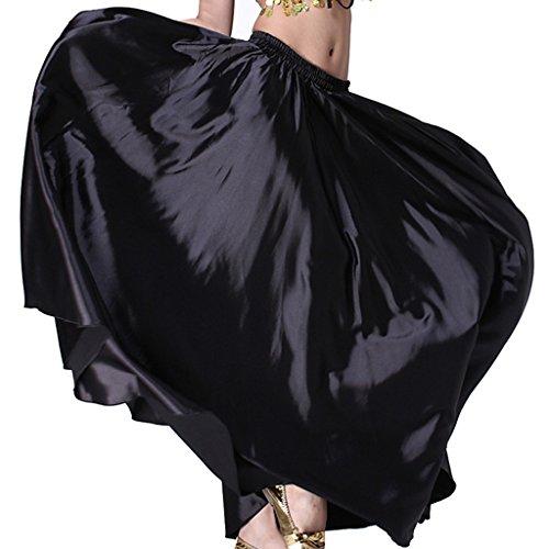Wuchieal Bauchtanz Satin Rock Professionelle Tänzer Glänzender Full Round Swing Dance Skirt (Schwarz, One Size)
