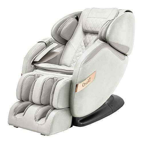 Osaki OS-Champ 2 Stages Zero Gravity Full-Body Massage Chair Recliner Heating on Lumbar 5 Auto Massage Programs (Cream & Taupe)
