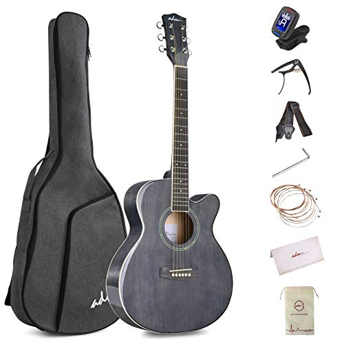ADM Beginner Acoustic Guitar, 36 Inch Kids Students Cutaway Guitar Bundle Free Lessons with Gig Bag, Tuner, Strap, Picks, Extra Strings, Glossy Black