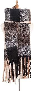 WUNONG-AU Ladies Thick Scarf Keep Warm Shawl Autumn Winter Thick Tassel Circle Yarn Four Grid Scarf (Color : Khaki, Size : 190cm)
