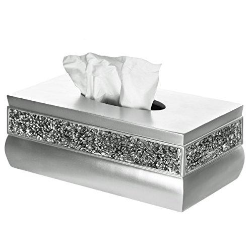 Creative Scents Rectangle Tissue Box Cover, Decorative Bathroom Tissues Paper Napkin Holder, Bottom Slider (Silver)