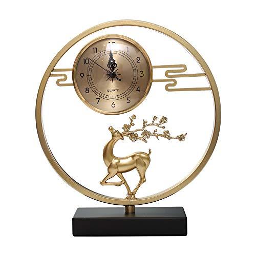 bdb Propicio Reloj De Chimenea Base de Hierro Reloj De Mesa Silencio Reloj De Sobremesa Regalos del Dormitorio (Color : Metallic)