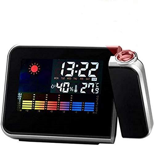 Projektionswecker, LED Digital Wecker mit Snooze- Funktion, USB Aufladbar, Innentemperatur, Luftfeuchtigkeit, Kalender, Tagesanzeige, Wetteranzeige, Backlight (schwarz)