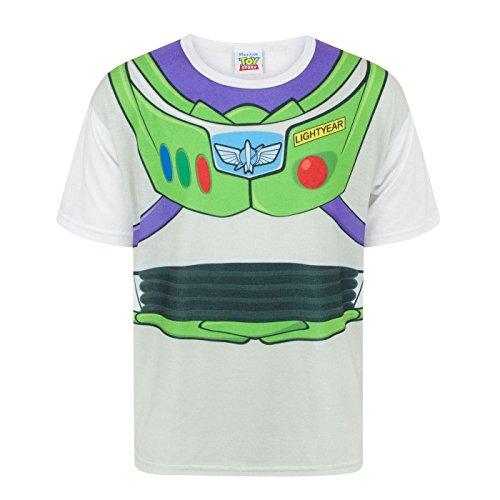 Toy Story Disney - Camiseta Disfraz de Buzz Lightyear Personaje niños (7-8 Años/Blanco)