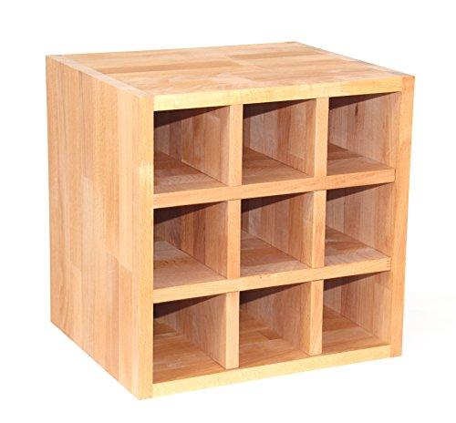 Weinregal aus Echtholz Buche geölt, Flaschenregal (Regalwürfel mit Flascheneinsatz), echtes Holz, erweiterbar, echtes Holz
