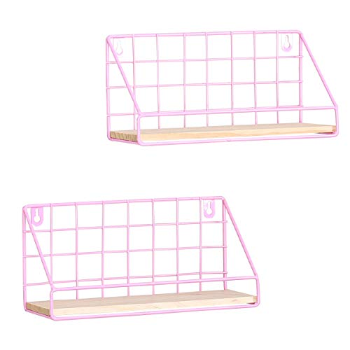N/D Floating Shelves Wall Mounted Set of 2 Rustic Modern Wood Wall Storage Shelves with Metal Display Shelf for Bedroom Living Room Bathroom Kitchen Office Decoration (Pink, Small(11X4.3X5.5inch))