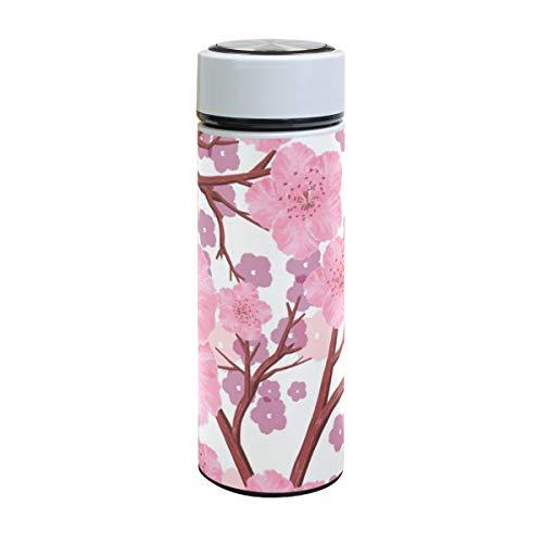 XiangHeFu waterfles houdt koude of warme thermoskan lekvrij sport naadloos patroon boom perzik bloemen reisbeker drankje 17oz