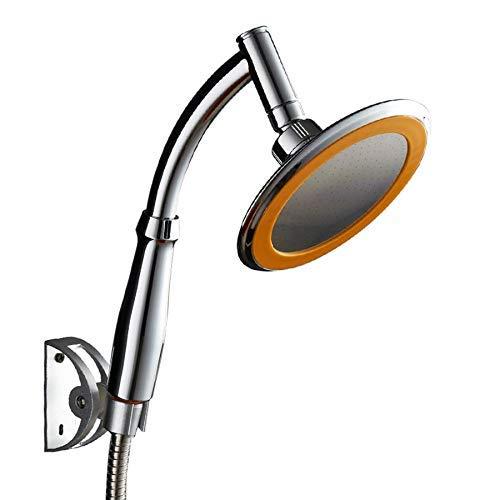 GUOCAO Alcachofa de ducha a presión de mano redonda de 360 grados de rotación flexible de un solo soporte de doble control de ahorro de agua cromado