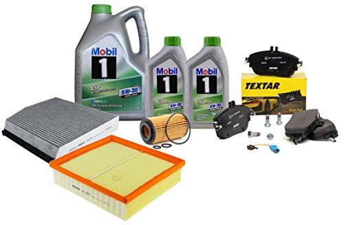 Kit Puesta a Punto Filtros Mahle, Pastillas Freno Delanteras 2486901 + Aceite Motor Mobil ESP 5W-30 7 litros MB W176 W245 W242
