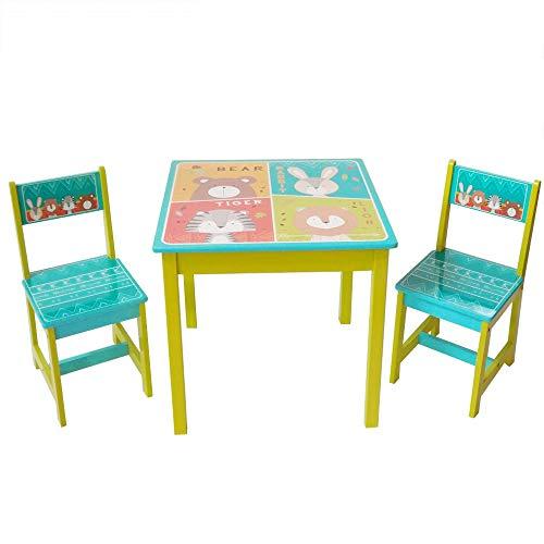 Style home Kindersitzgruppe Kindertisch mit 2 Kinderstühlen 1 Tisch und 2 Stühle Sitzgruppe für Kinder Mädchen und Jungen, Holz (Blau)