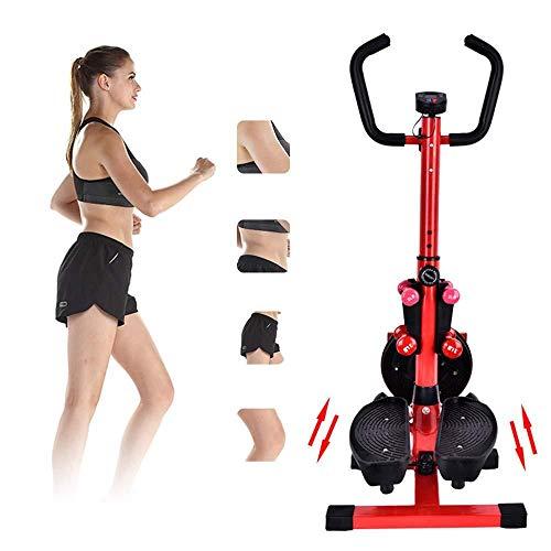 BTHDPP Portable Mini Home Stepper 2-in-1-Multifunktions-Mini-Stepper-Trainer Mit LCD-Display Und Handgriff Body Twister Für Individuelles Sportfitness-Training,Red