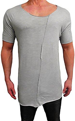 Oversize Deep Neck Shirt Schwarz Longshirt Swag Herren Sweatshirt NEU Skater hip hop Sweat Jacke Pullover Kapuzen langes Longsleeve m Kapuzenpullover Sweatjacke Pulli (S, Grau²)