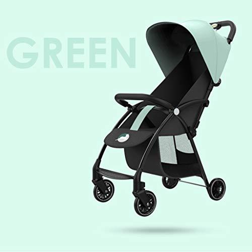 2 in 1 kinderwagen, kinderwagen en omkeerbare kinderwagen, opvouwbare kinderwagen met verstelbare luifel, Groen