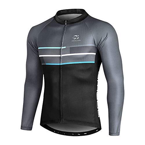 Swallow Cycling Jersey Men Long Sleeve Bike Shirt Mountain Bike Shirt Full Zip Grey Medium