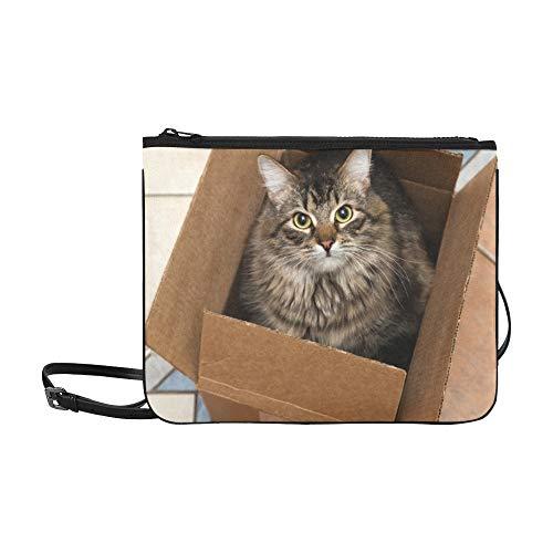 WYYWCY Nette Katze im Karton Muster benutzerdefinierte hochwertige Nylon dünne Clutch Crossbody Tasche Umhängetasche