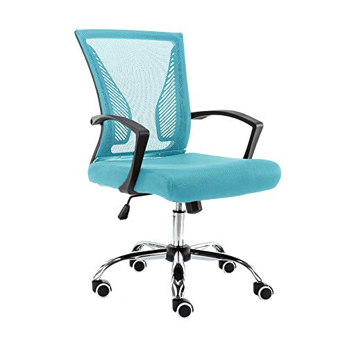 Modern Home Zuna Mid-Back Office Task Chair - Ergonomic Back Supporting Mesh Back Desk Chair (Black/Aqua)