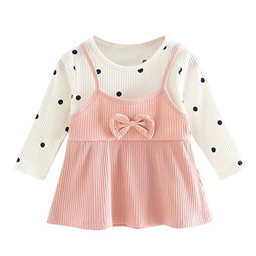 Zegeey Baby MäDchen Kleid Kleinkind Langarm Prinzessin Kleid FrüHling Herbst Winter Kleidung Geburtstag Geschenk(A-Rosa,0-6 Monate)