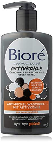 Bioré Anti-Pickel Waschgel Mit Aktivkohle (1 x 200 ml), Normale Bis Fettige Haut, Ph-Neutral, Dermatologisch Getestet