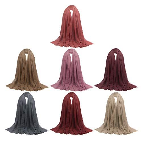 Colcolo Paquete de 7 Bufandas Largas de Algodón Acogedor Y Elegante para Mujer Hijab Musulmán