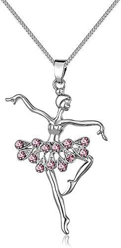 Rosa kleine Mädchen Halskette, Alloy Dancer Anhänger Halskette, hypoallergene Ballerina Dance Girls Schmuck 20 Zoll