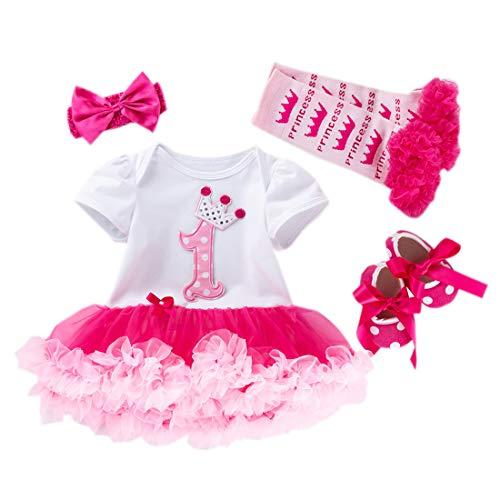 Marlegard Baby-Mädchen Erster Geburstag Crown Tutu KleidStirnband Schuhe (9-12Monate, Rosa01)