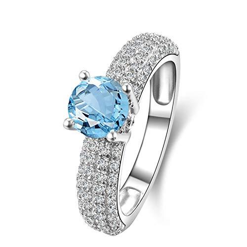 AueDsa Anillos de Plata Ley Mujer 925,Anillo de Plata con Piedra Azul Redondo 6.5MM Topacio Azul Blanco Anillo Mujer Compromiso