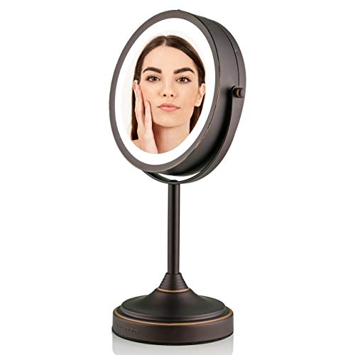 Ovente Tabletop Makeup Mirror 7 Inch with 7X Magnification & Cool Tone LED Light, Double-Sided with 360 Degree Swivel Design and Distortion Free View, Cordless, Antique Bronze (MCT70ABZ1X7X)