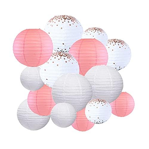 CAIFEIYU 15 unids/Set Rosa Blanco Rosa Oro Cobre Papel Linterna Colgante Linterna Bricolaje Día de San Valentín Decoración de la Fiesta de cumpleaños (Color : Rosegold Pink White)