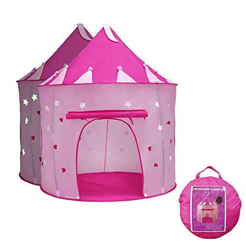 Tienda de campaña Infantil, Carpa Rosa Plegable Castle Princess Play Noche Star Regalo Interior para Niños Camping Play House Toy Castle Carpa con Bolsa