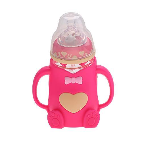 Biberón, diseño ergonómico resistente al calor portátil, anti escaldado, dos pezones, biberón infantil de lactancia con asas, cubierta a prueba de polvo(rojo)