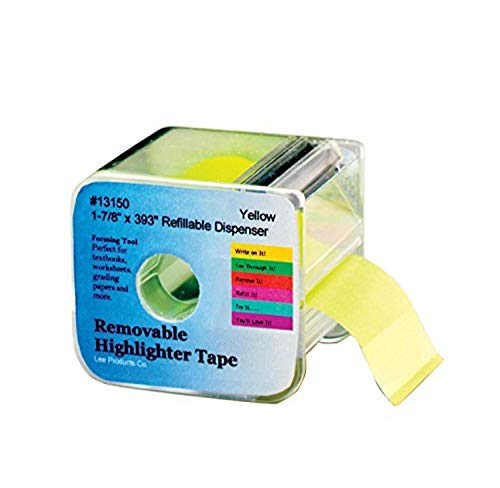 Lee Products 13150 Removable Wide Highlighter Note Tape with Dispenser, 1-7/8 X 393 in, Yellow